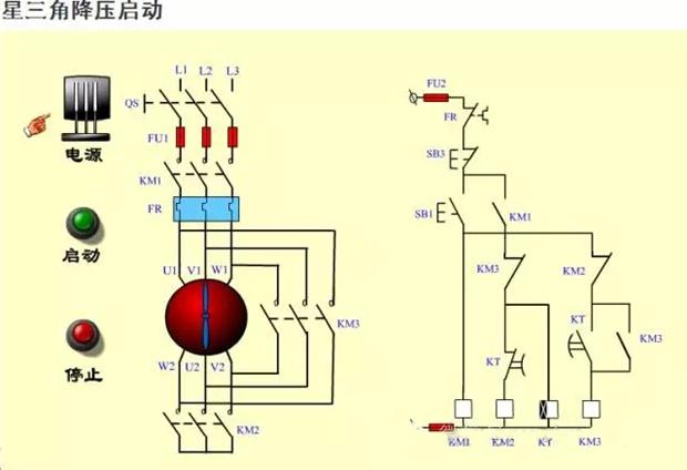 三相异步电动机星三角启动原理及电路图